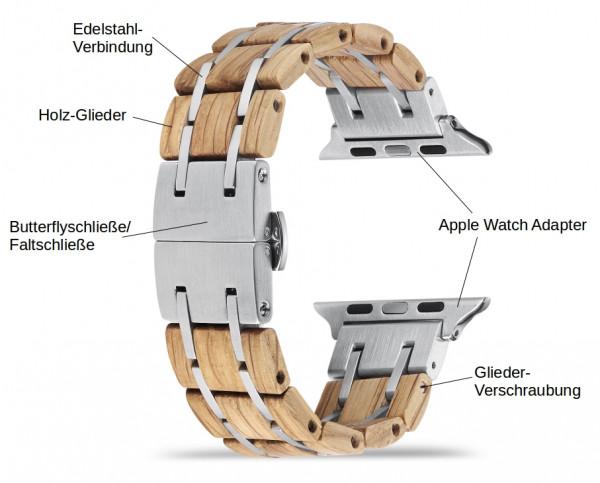 Hellbraunes Holz Armband für die Apple Watch