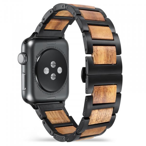 Hell braunes schwarzes holzarmband für die apple watch
