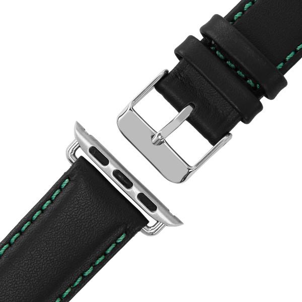 Schwarzes Echt Lederarmband mit grüner Naht für Apple Watch Series