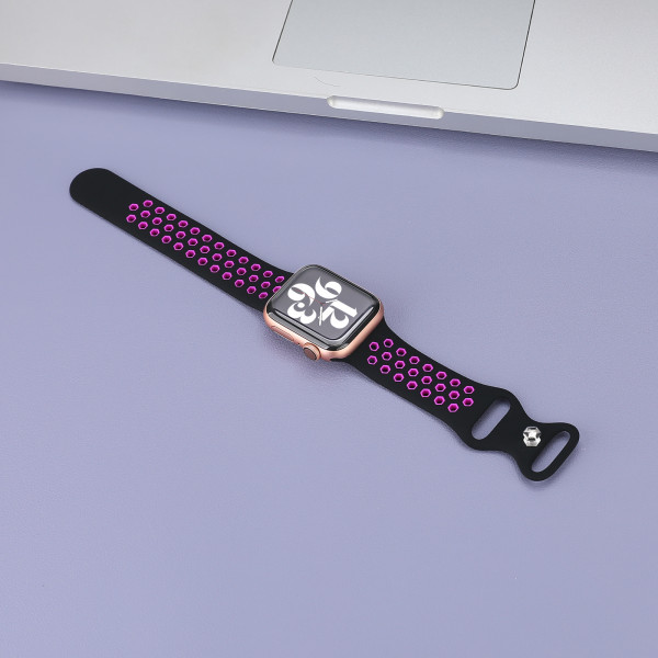 apple watch loop silikonarmband in schwarz/pink