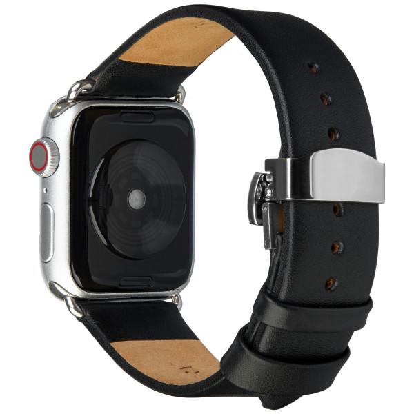 wildery schwarzes lederarmband für die apple watch mit faltschließe