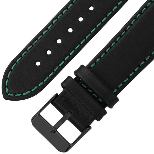 Echt Lederarmband für Samsung Galaxy Watch Classic Frontier mit Quick Release Funktion in schwarz mit grüner Naht
