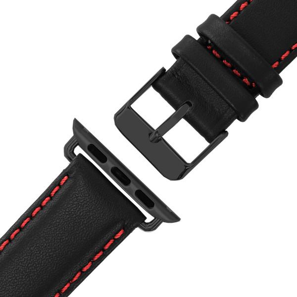 Schwarzes Echt Lederarmband mit roter Naht für Apple Watch Series