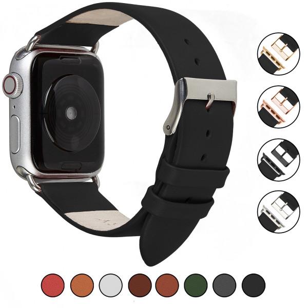Echt Lederarmband für Apple Watch im schlichten in schwarz