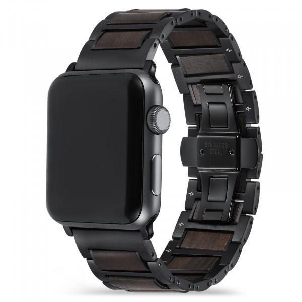 Apple Watch Glieder Holzarmband in dunkelbraun und schwarz