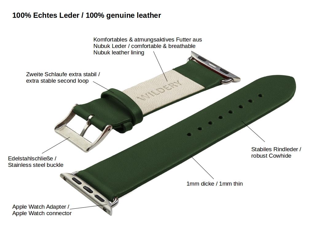 Wildery voll Leder Apple watch Ersatzarmband