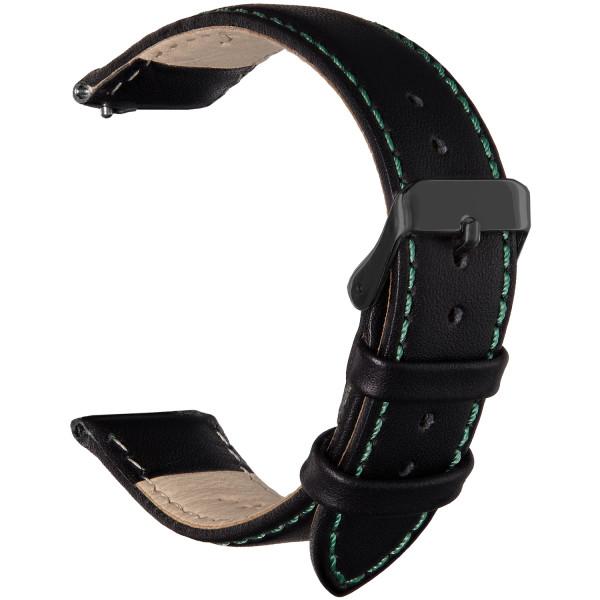 Echt Lederarmband für Samsung Galaxy Watch mit Quick Release Funktion in schwarz mit grüner Naht