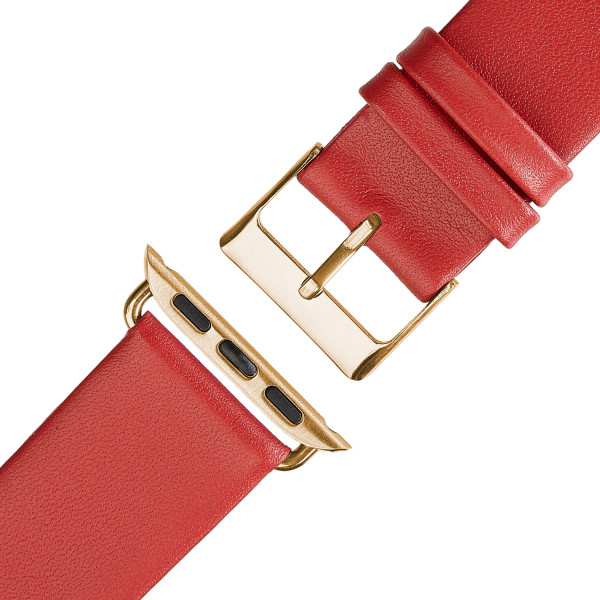 Rotes Echt Lederarmband für Apple Watch Series