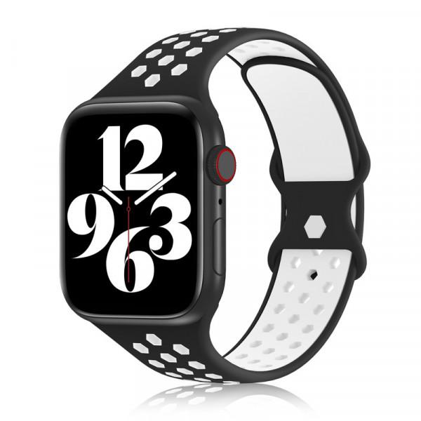 apple watch loop silikon armband in schwarz und weiß
