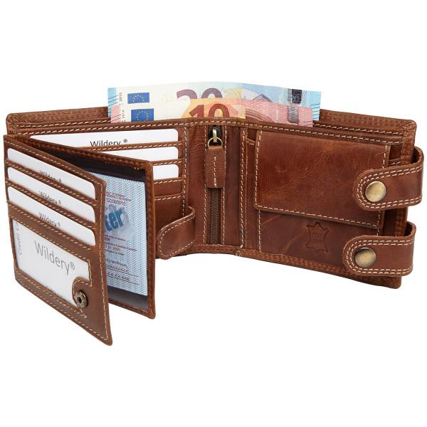 wildery leder geldbörse im querformat mit kette und rfid schutz