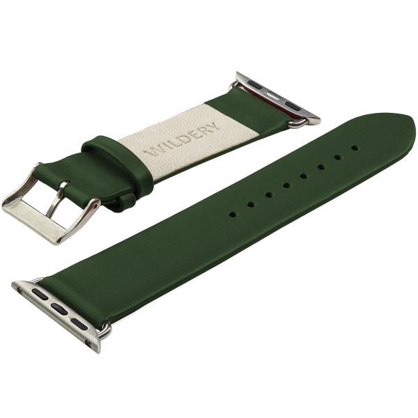 Echt Lederarmband für die Apple Watch series 1 bis 6 in olivgrün