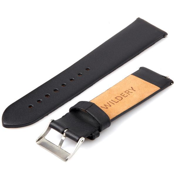 Echt Lederarmband für Samsung Galaxy Watch Classic Frontier mit Quick Release Funktion in schwarz