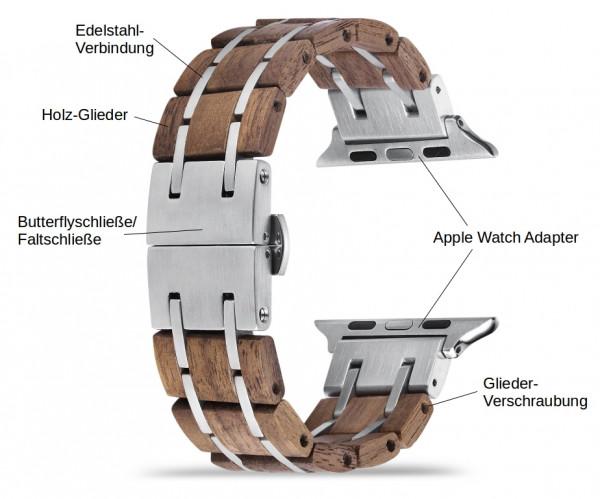 Dunkelbraunes Holz Armband für die Apple Watch