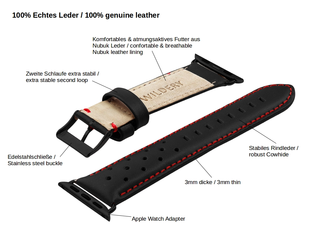 details zu wildery schwarzes lederarmband für die apple watch mit dornschließe details