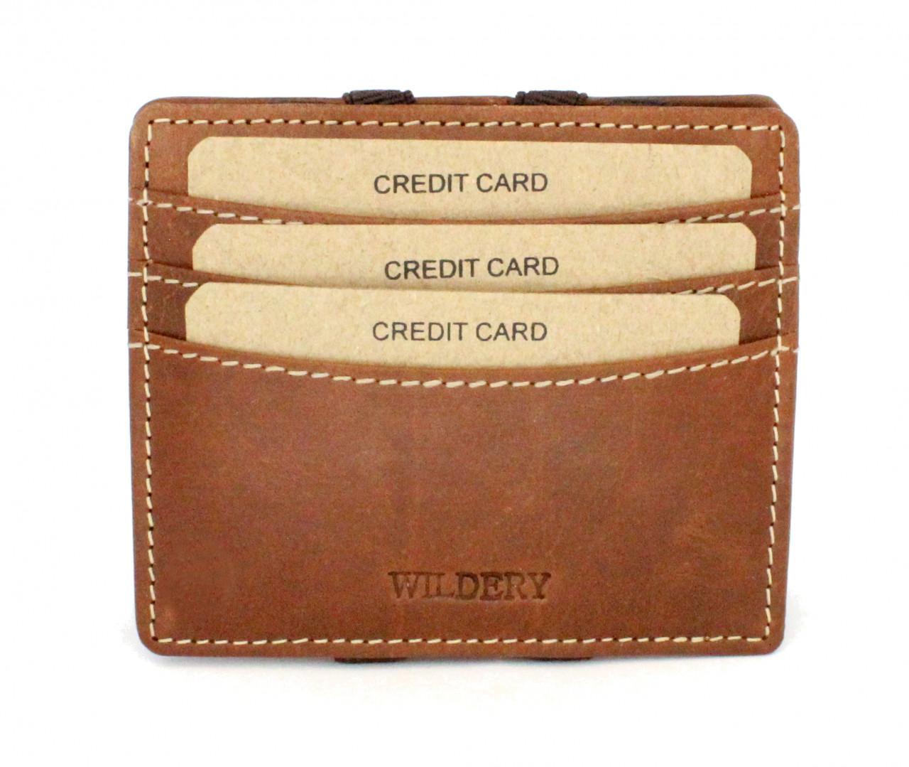Magic Wallet Kreditkarten Etui aus echt Leder mit RFID und NFC Schutz mit 8 Kartenfächern in beige