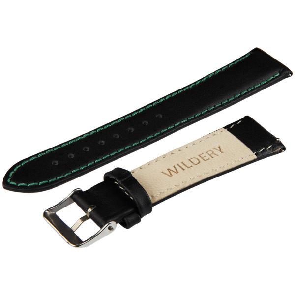 Echt Lederarmband für Samsung Watch mit Quick Release Funktion in schwarz mit grüner naht