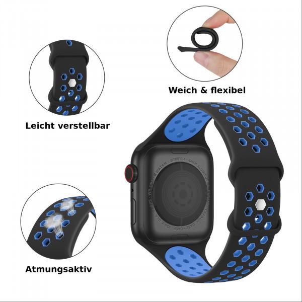 apple watch loop silikonarmband in schwarz/blau