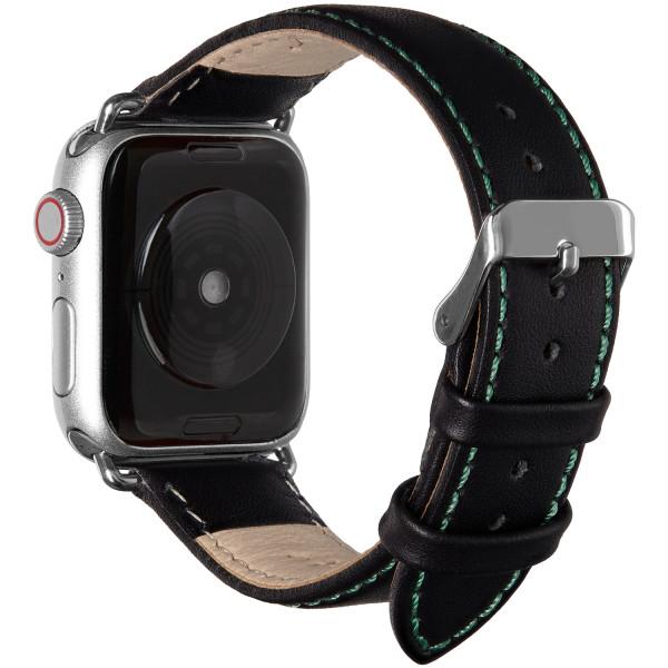 Echt Lederarmband für die Apple Watch in schwarz mit grüner Naht