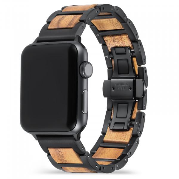 Apple Watch Glieder Holzarmband in hellbraun und schwarz