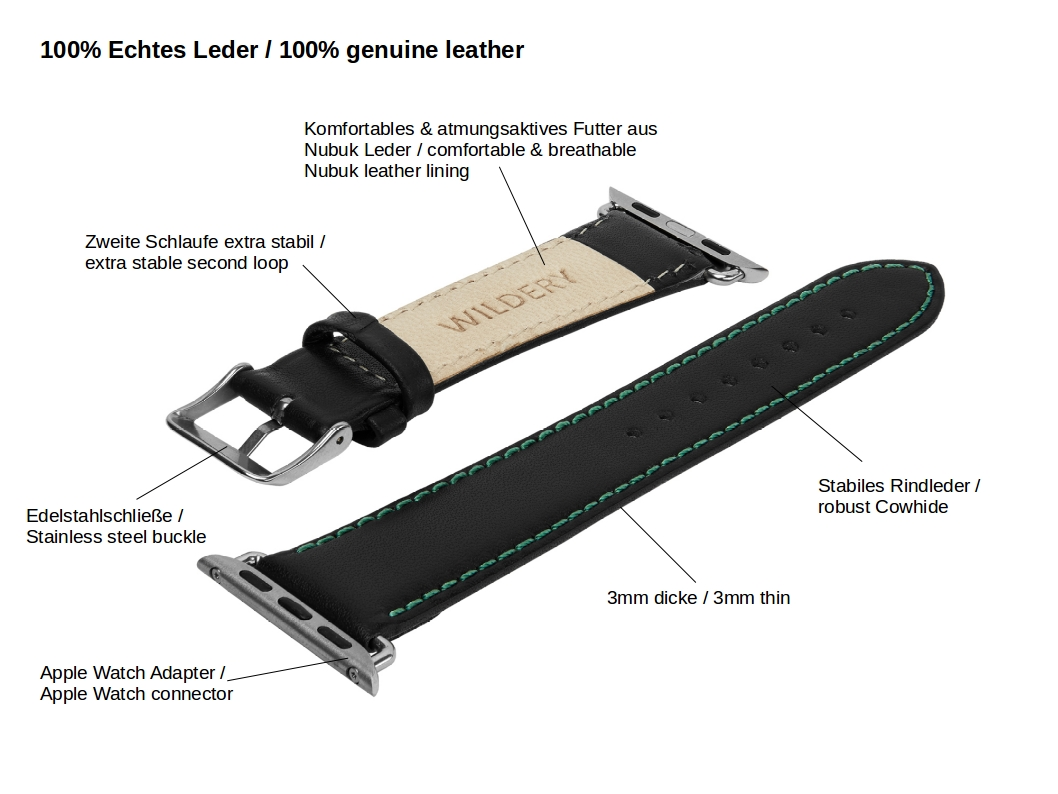 Wildery voll Leder Apple watch Leder Ersatzarmband mit grüner Naht Details