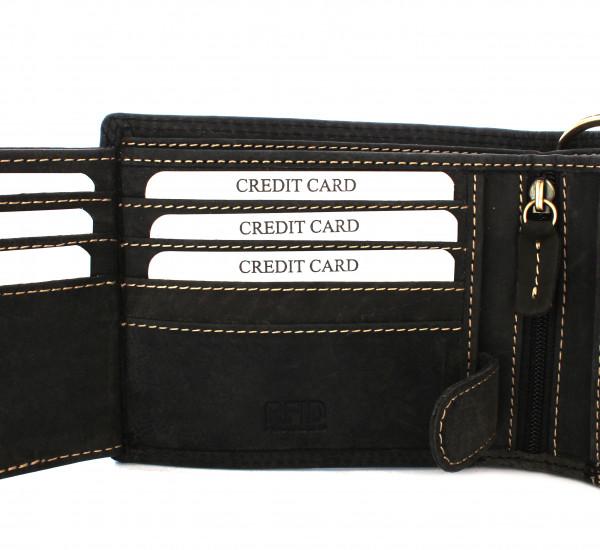 schwarze wildery leder geldbörse mit kette in dunkelbraun und rfid schutz