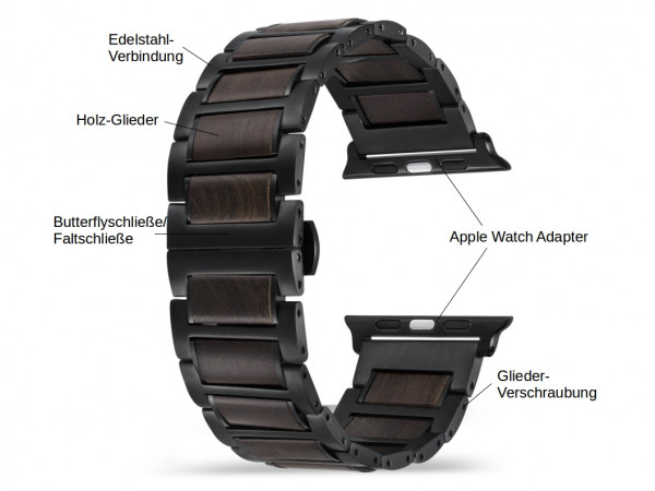 Dunkelbraunes und schwarzes Holz Armband für die Apple Watch