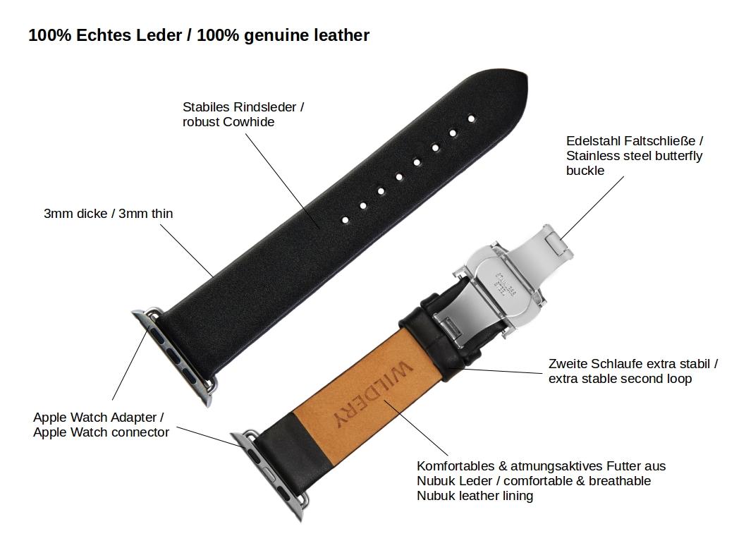 wildery schwarzes lederarmband für die apple watch mit faltschließe details