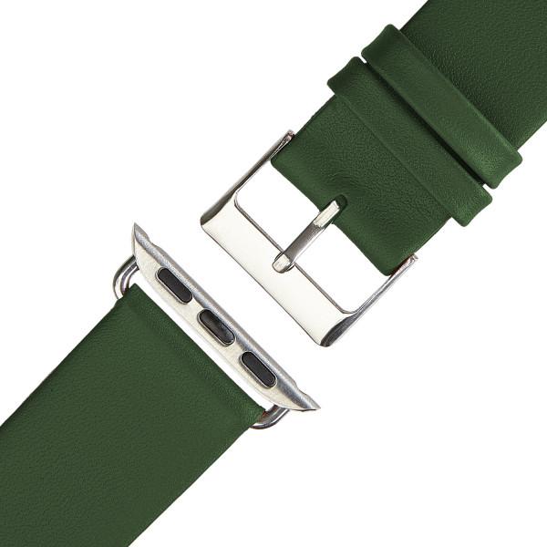 Olivgrünes Echt Lederarmband für Apple Watch Series