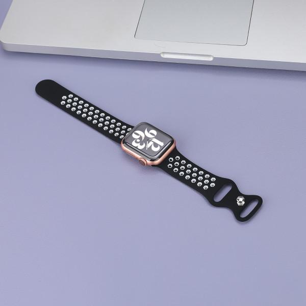 apple watch loop silikonarmband in schwarz und weiß