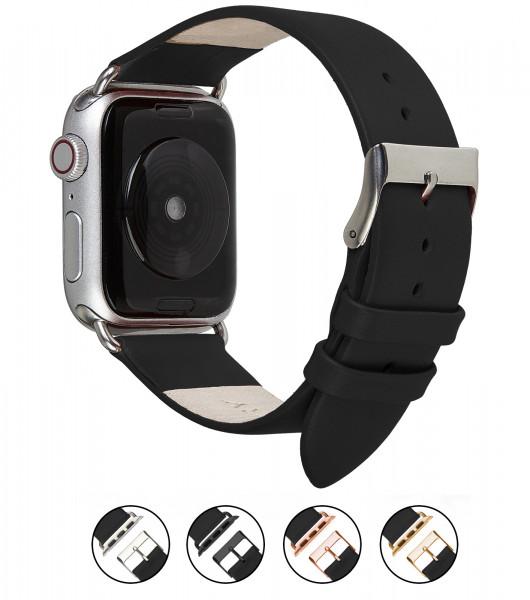 Echt Lederarmband für die Apple Watch in schwarz
