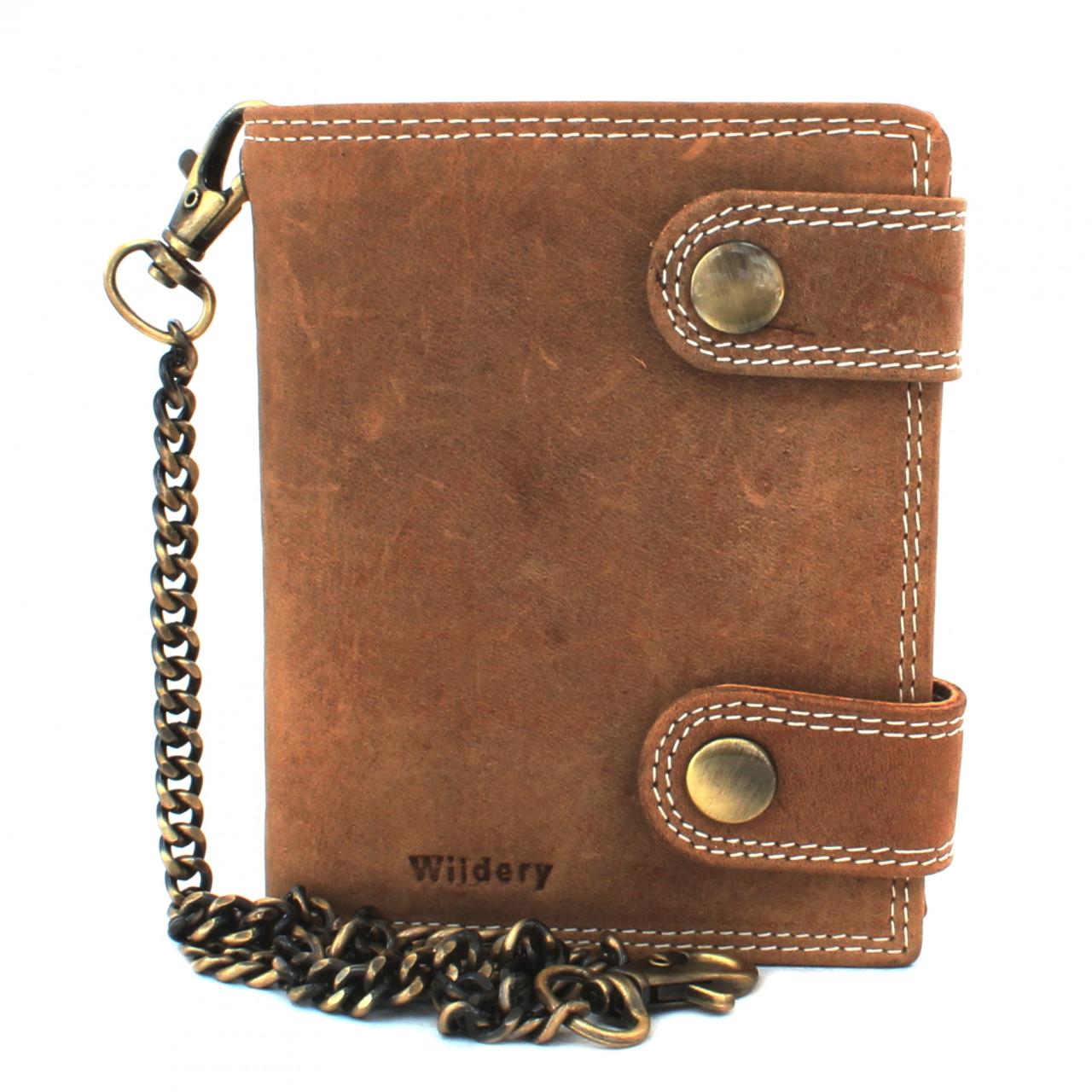 Wildery Herren vintage Leder Geldbörse im Hochformat mit RFID und NFC Schutz und mit Kette in beige