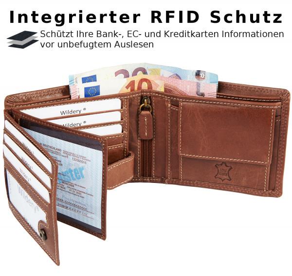wildery voll leder geldbörse in dunkelbraun mit RFID und NFC Schutz