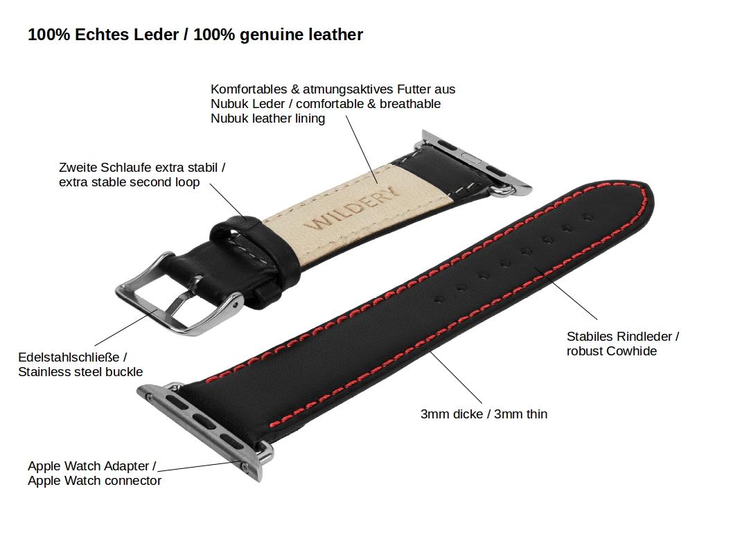 Wildery voll Leder Apple watch Leder Ersatzarmband mit roter Naht Details