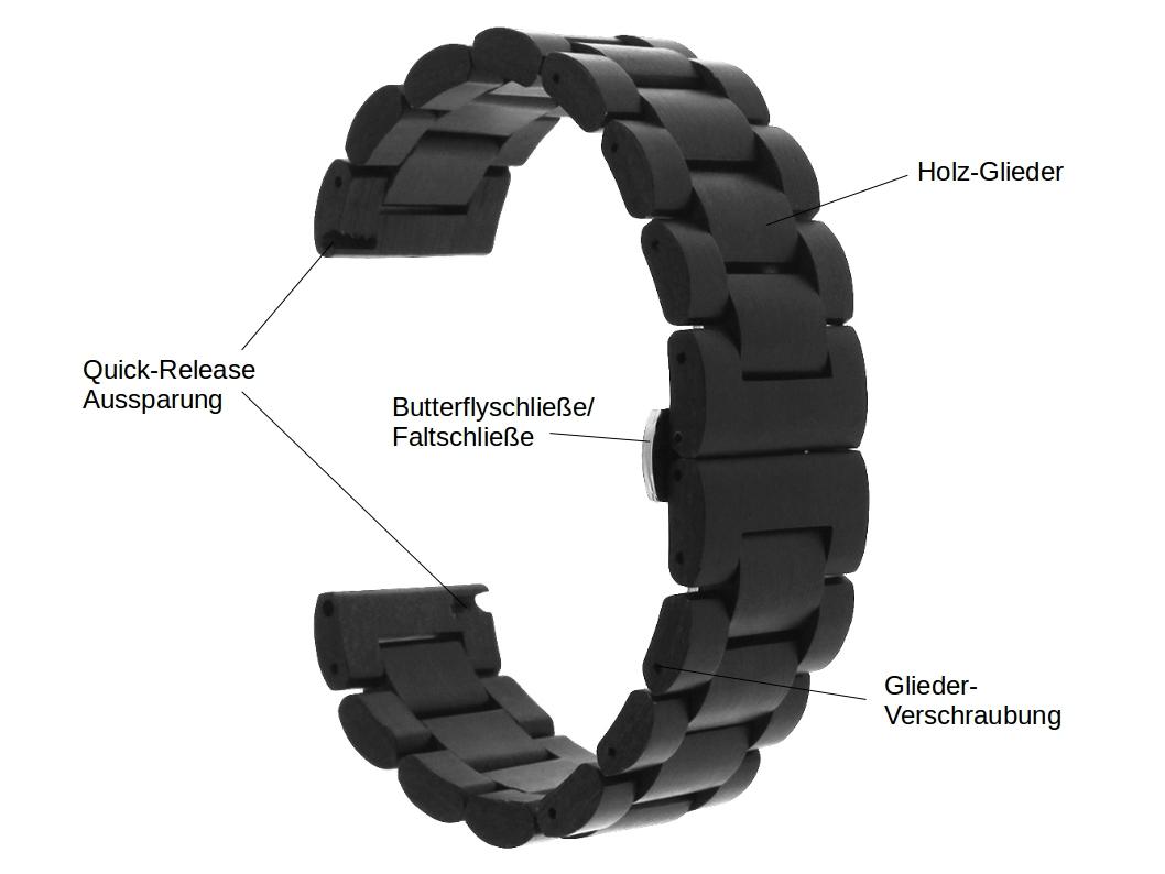 maple wood und schwarzes Holz Armband für die Samsung Watch