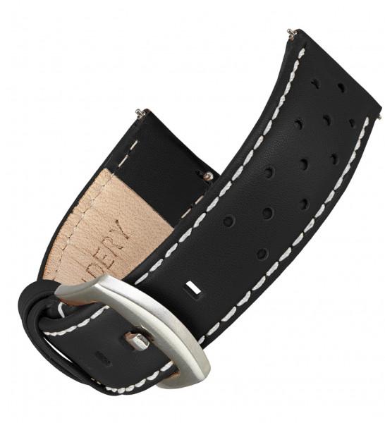 Echt Lederarmband für Samsung Galaxy Watch Classic Frontier mit Quick Release Funktion in schwarz mit weißer naht