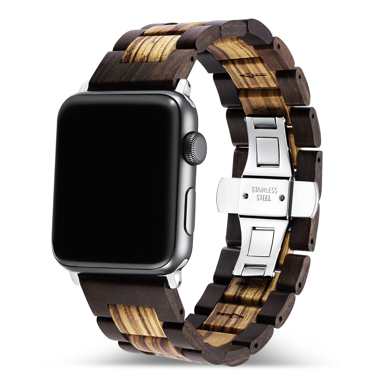Holz Armband für die Apple Watch mit Glieder in dunkel- und hellbraun