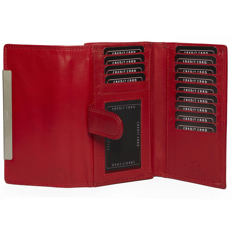 Damen Langbörse mit vielen Kartenfächern in rot und mit RFID Schutz