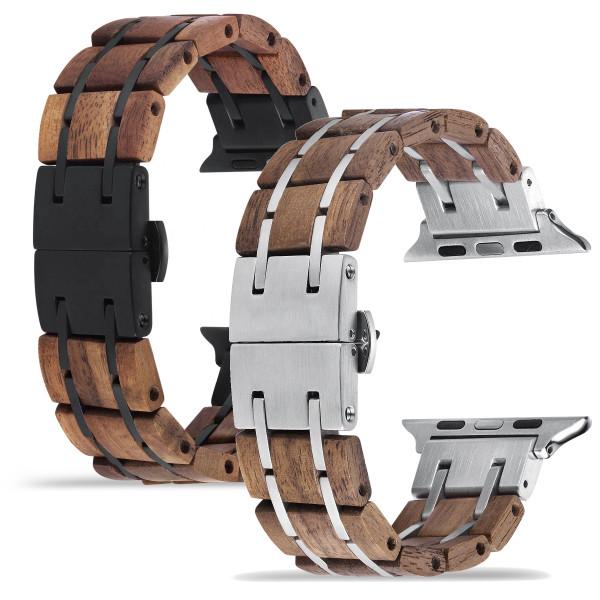 Apple Watch Glieder Holzarmband in dunkelbraun