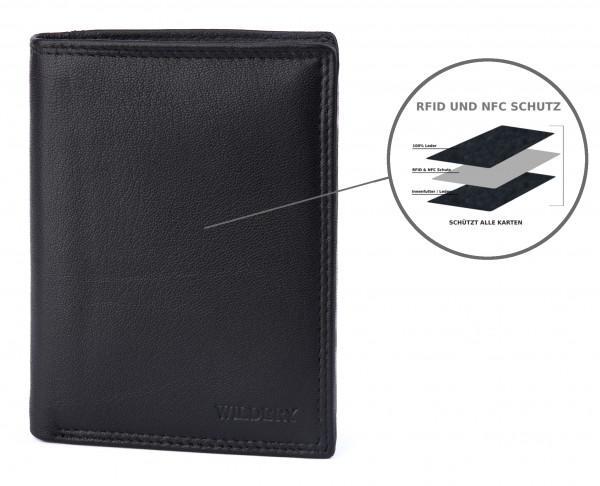 wildery voll leder geldbörse in schwarz mit RFID und NFC Schutz