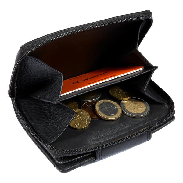 kleine damen geldbörse in schwarz mit Münzfach
