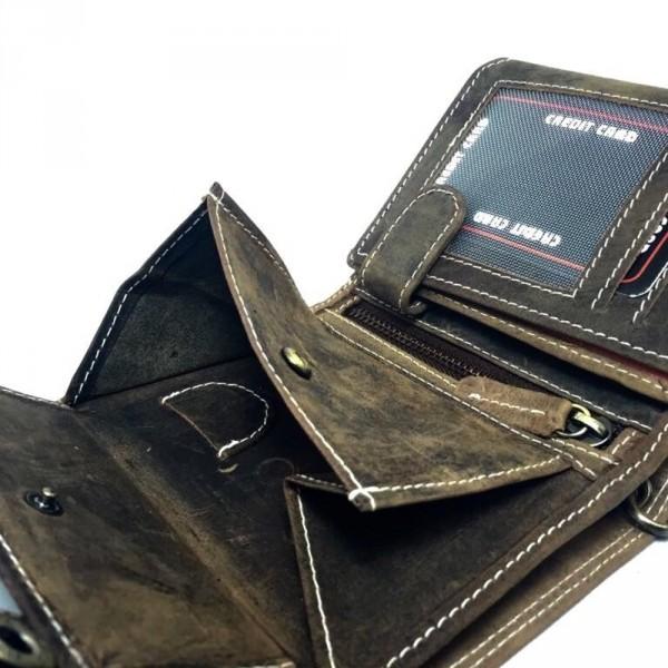 wildery geldbörse in dunkelbraun mit kette und münzfach coinfach