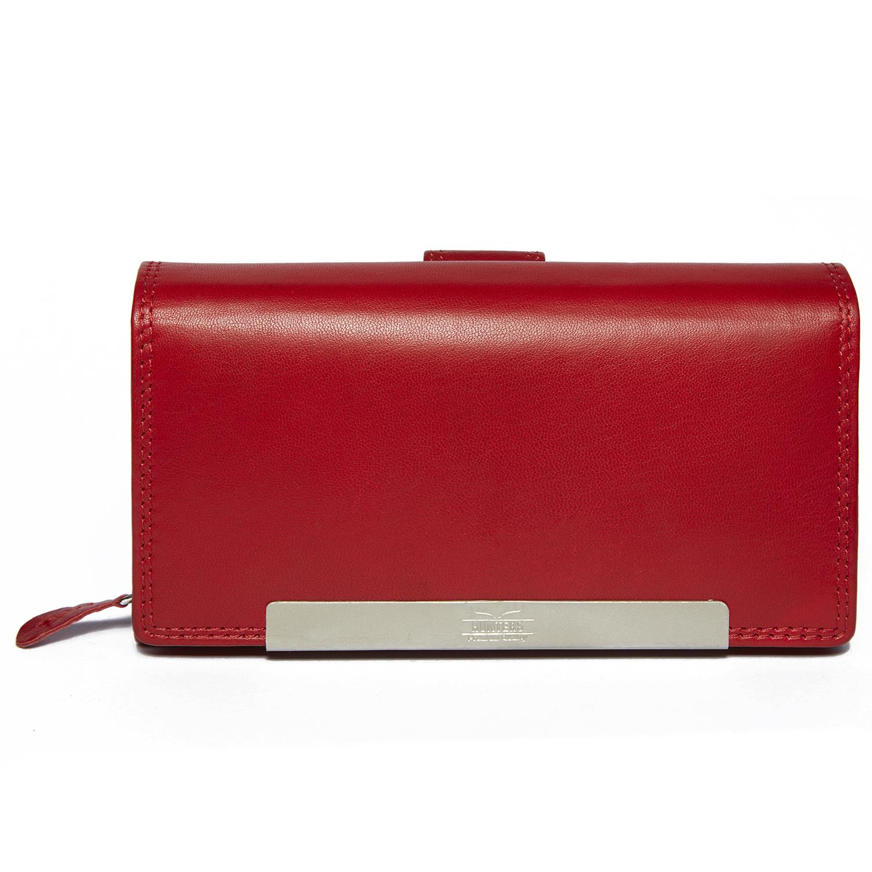 Damenbörse mit vielen Kartenfächern in rot und mit RFID Schutz
