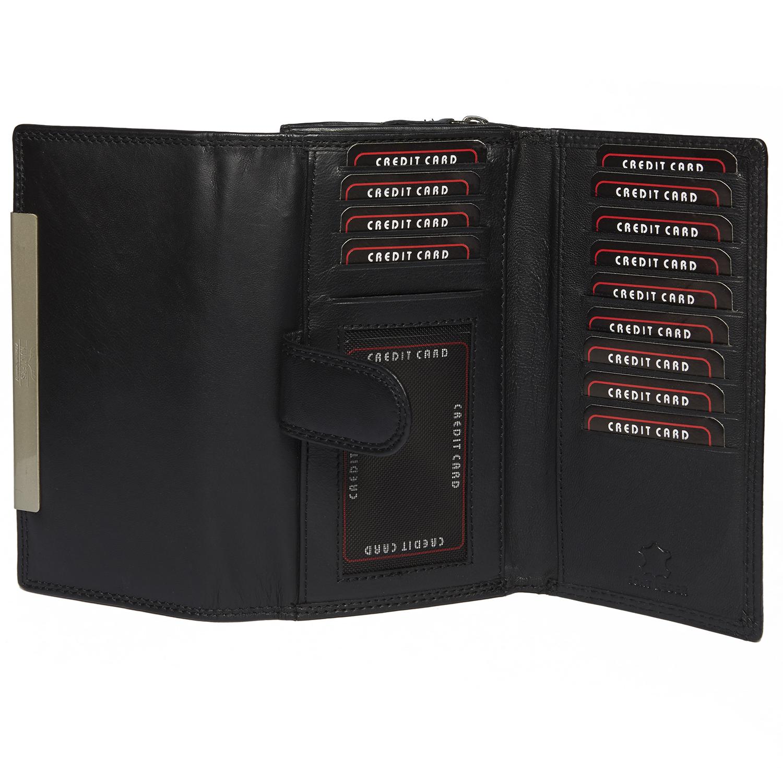 Damen Langbörse mit vielen Kartenfächern in schwarz und mit RFID Schutz