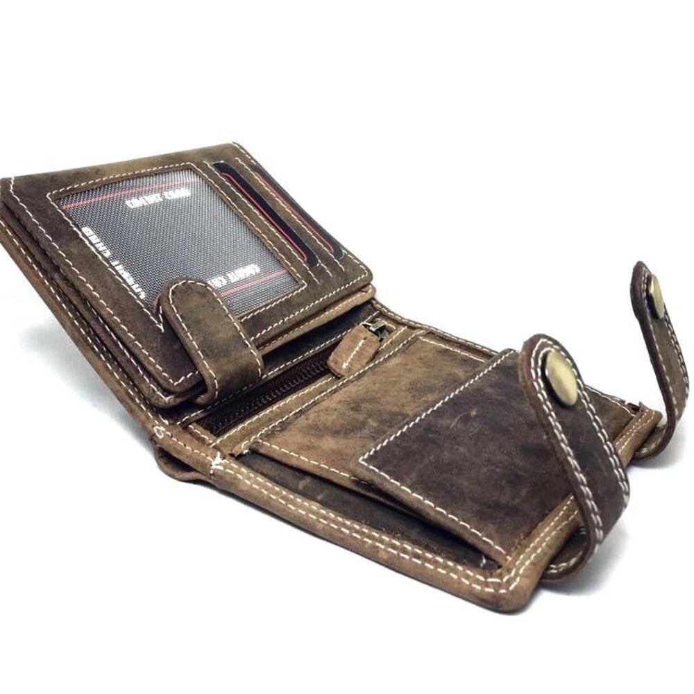 b30677f50bcd6 ... Herren Leder Geldbörse im Hochformat mit Kette Braune Brieftasche Herren  Portemonnaie Voll-Leder ...