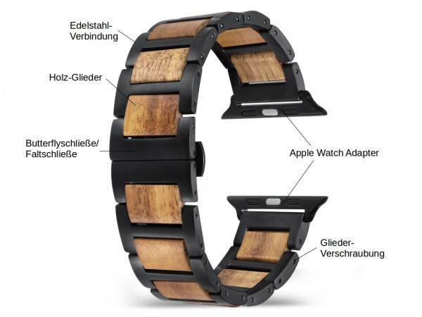 maple wood und schwarzes Holz Armband für die Apple Watch