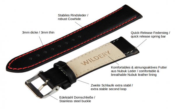 wildery voll leder Samsung Watch Ersatzarmband mit Quick Release in schwarz mit roter naht
