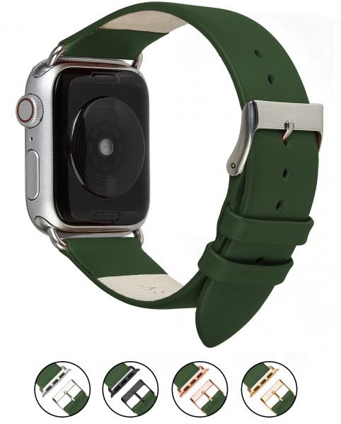 Echt Lederarmband für die Apple Watch in olivgrün