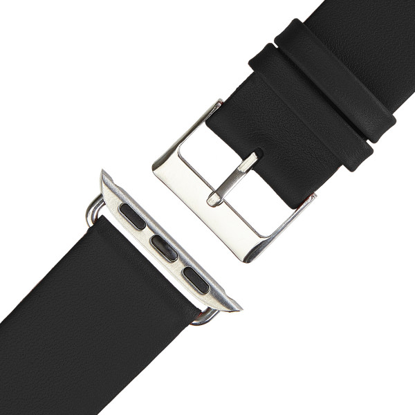 Schwarzes Echt Lederarmband für Apple Watch Series