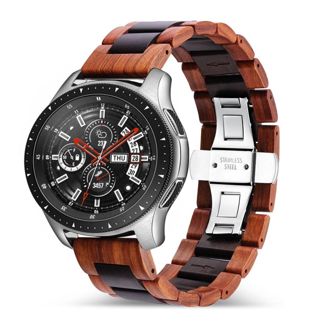 Samsung Watch Glieder Holzarmband in rotbraun und schwarz