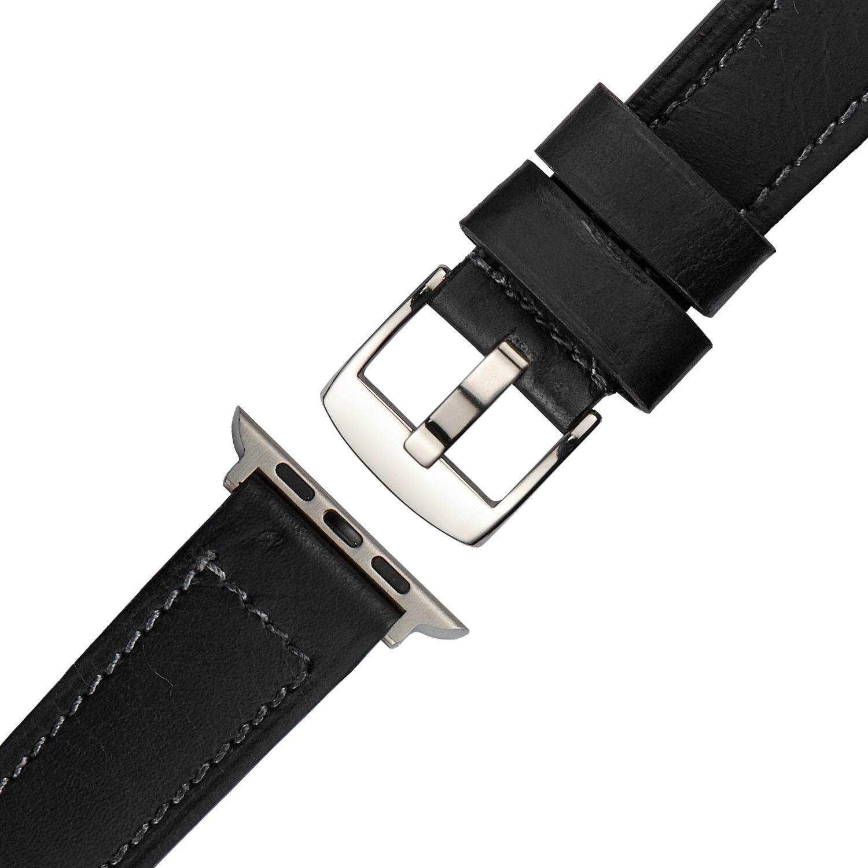 Schwarzes Echt Lederarmband mit schwarzer Naht für Apple Watch Series